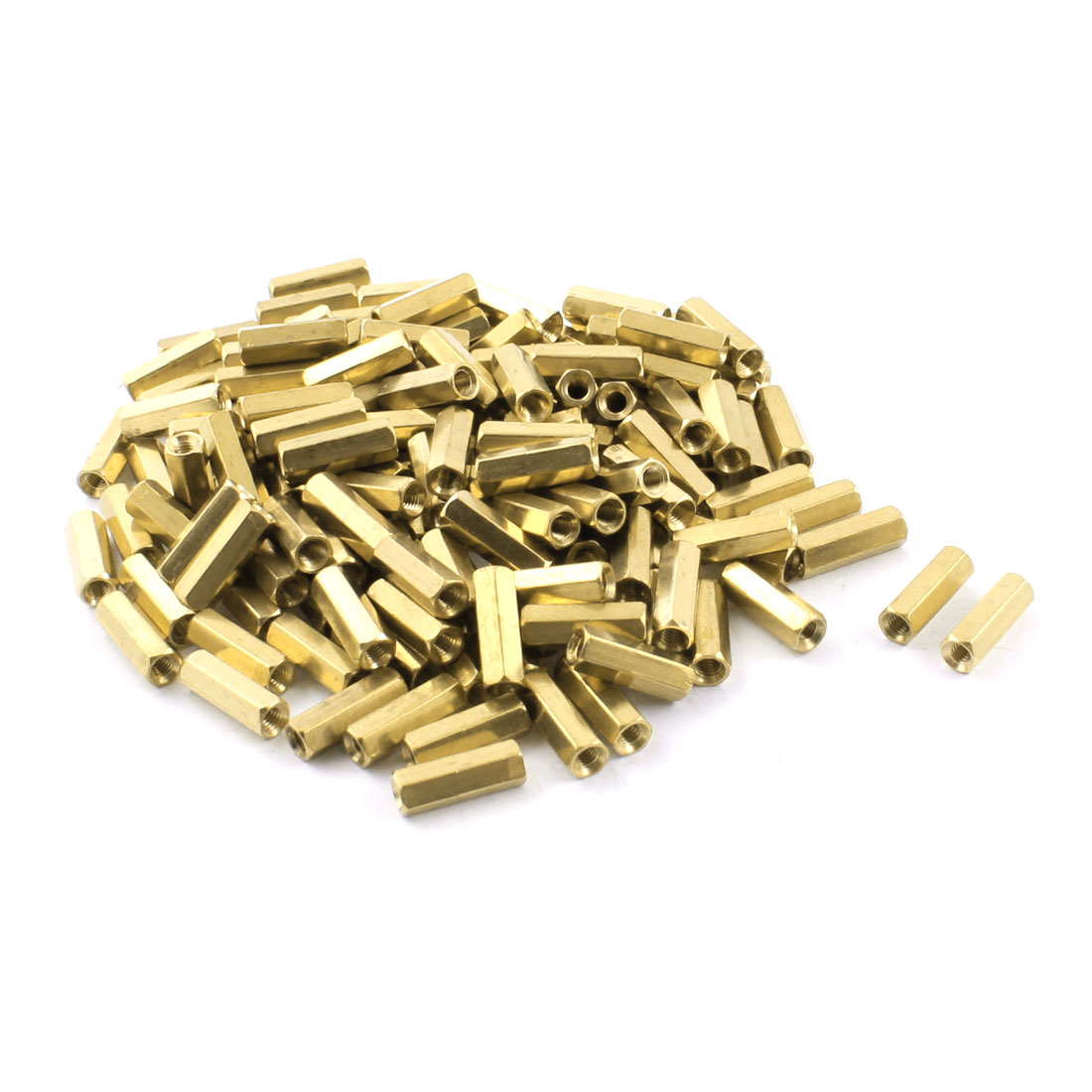 150 Pcs M3 x 14mm Female Thread Double Ended Gold Tone Brass Pillar PCB Standoff Hexagonal Nut Spacer