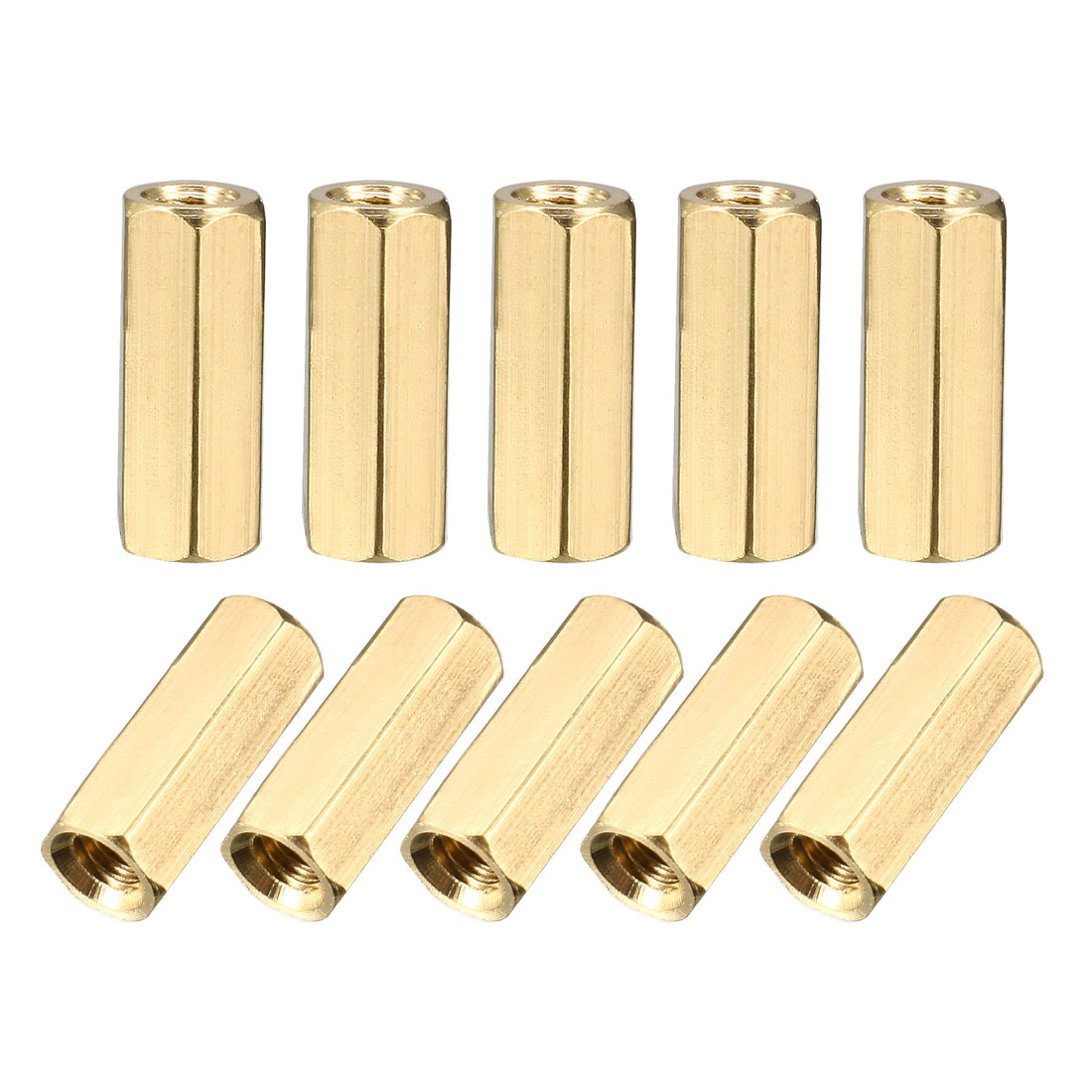 200Pcs M3 x 12mm Female Thread Gold Tone Brass Pillar PCB Hexagonal Nut Standoff Spacer