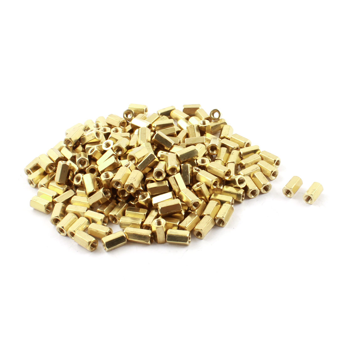 200Pcs M3 x 8mm Female Thread Two Ended Gold Tone Brass Pillar PCB Standoff Hexagonal Nut Spacer