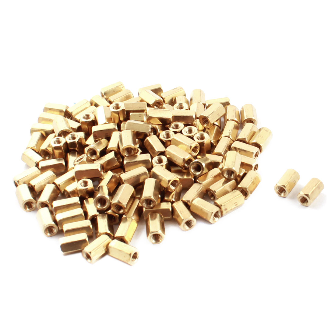 130 Pcs M3 x 8mm Female Thread Hex Head Dual Ends Gold Tone Brass Pillar Standoff Hexagonal Nut Spacer