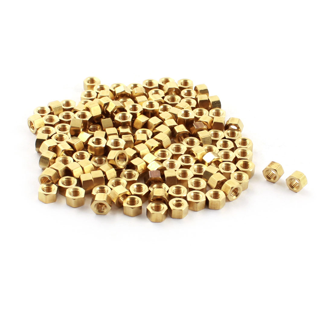 150 Pcs M3 x 3mm Female Thread Dual Ends Gold Tone Brass Pillar PCB Standoff Hexagonal Nut Spacer