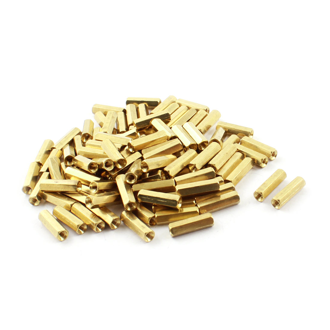 100 Pcs M3 x 16mm Female Thread Two Ended Gold Tone Brass Pillar PCB Standoff Hexagonal Spacer