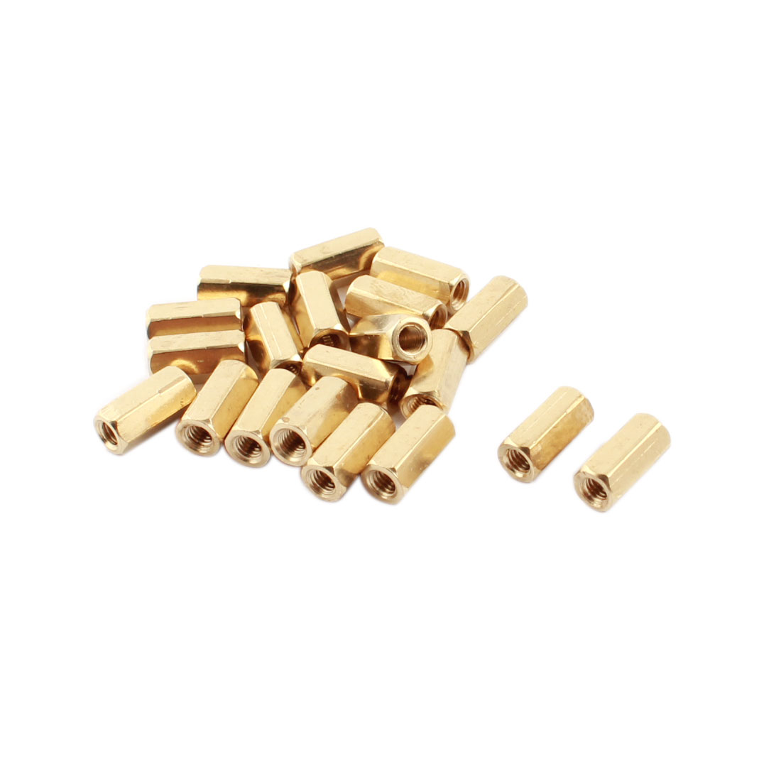20Pcs M3 x 10mm Female Thread Dual Ends Gold Tone Brass Pillar PCB Standoff Hexagonal Nut Spacer