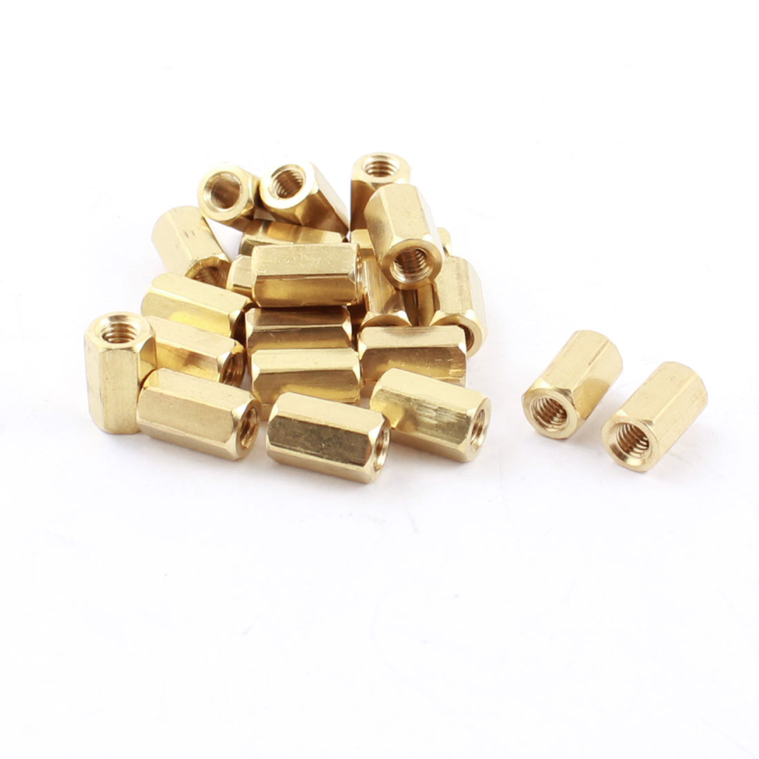 20 Pcs M3 Female Thread 8mm Long Double Ends Brass Pillar PCB Standoff Hexagonal Nut Spacer Gold Tone