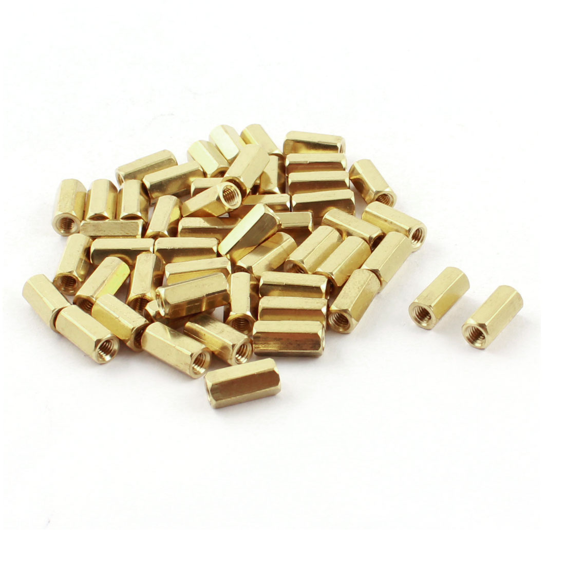 10mm Length M3 Female Thread Dual Ends Gold Tone Brass Pillar Hexagonal PCB Standoff Spacer 50Pcs