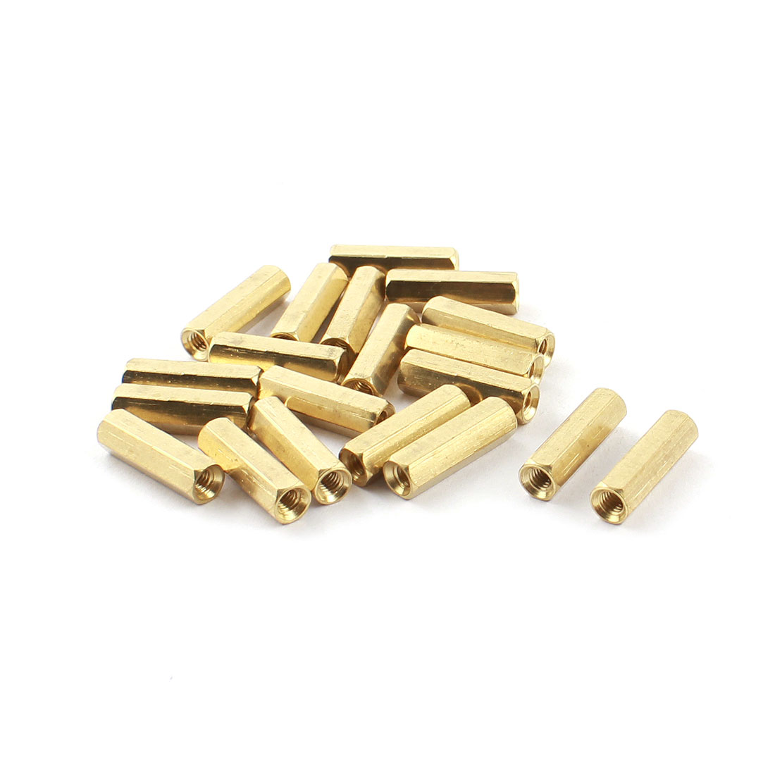 20 Pcs M3 x 16mm Female Thread Double Ends Gold Tone Brass Pillar PCB Standoff Hexagonal Nut Spacer