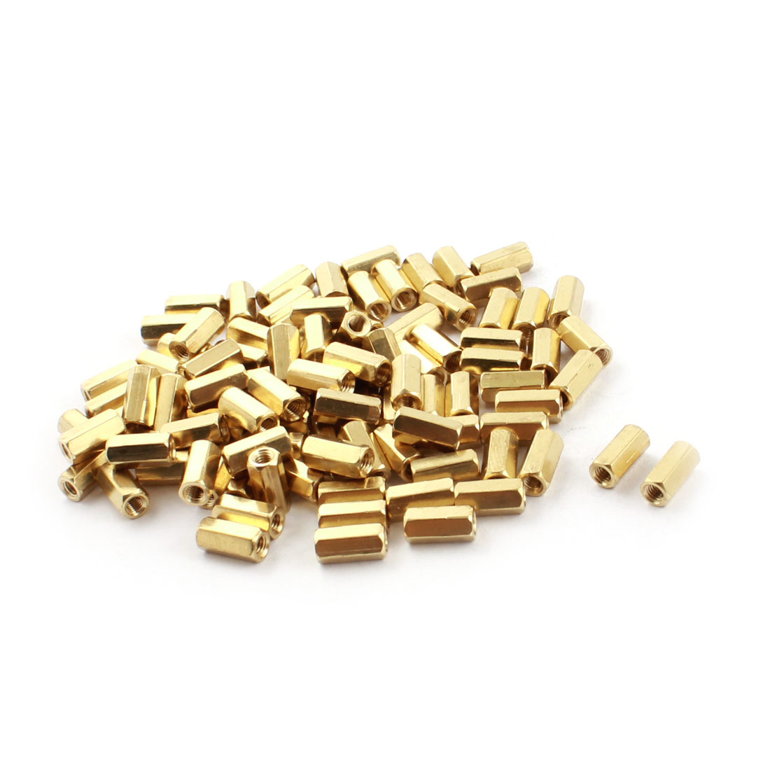 100Pcs M3x10mm Female Thread Dual Ends Gold Tone Brass Pillar PCB Standoff Hexagonal Nut Spacer