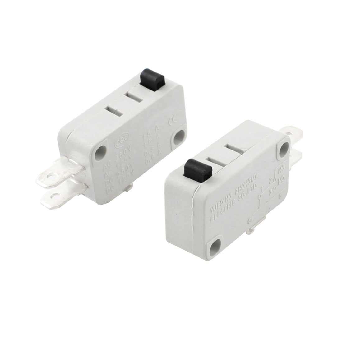 2Pcs SPDT 1NO+1NC Memontary Push Button Actuator Rectangle White Micro Limit Switch AC 250V 15A