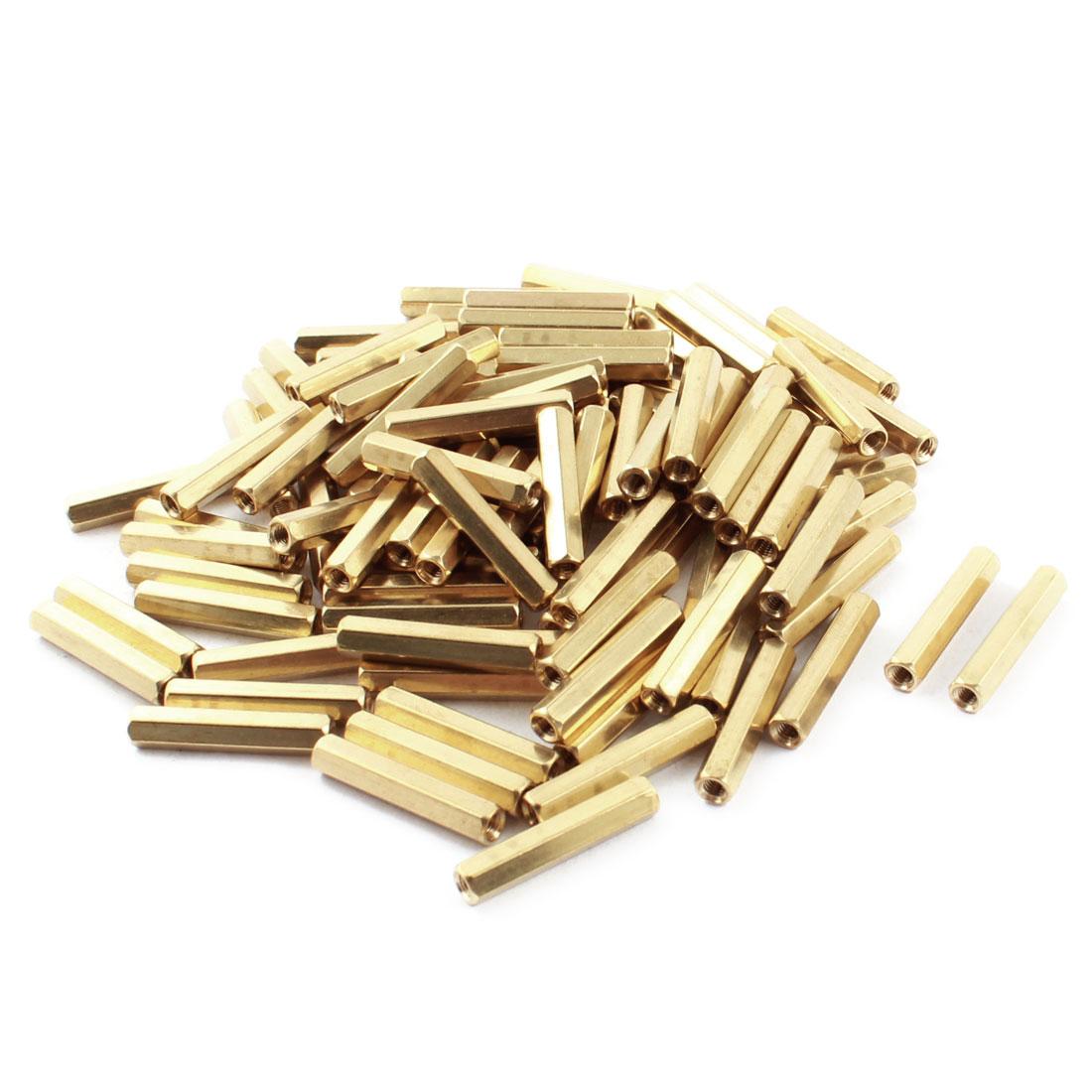 100Pcs Female Thread Dual Ends Gold Tone Brass Pillar PCB Standoff Hexagonal Spacer M3 x 25mm
