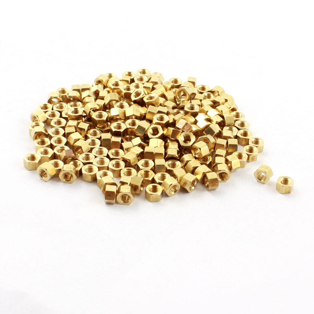 200 Pcs M3 x 3mm M3 Female Thread Gold Tone Brass Pillar PCB Standoff Hexagonal Nut Spacer