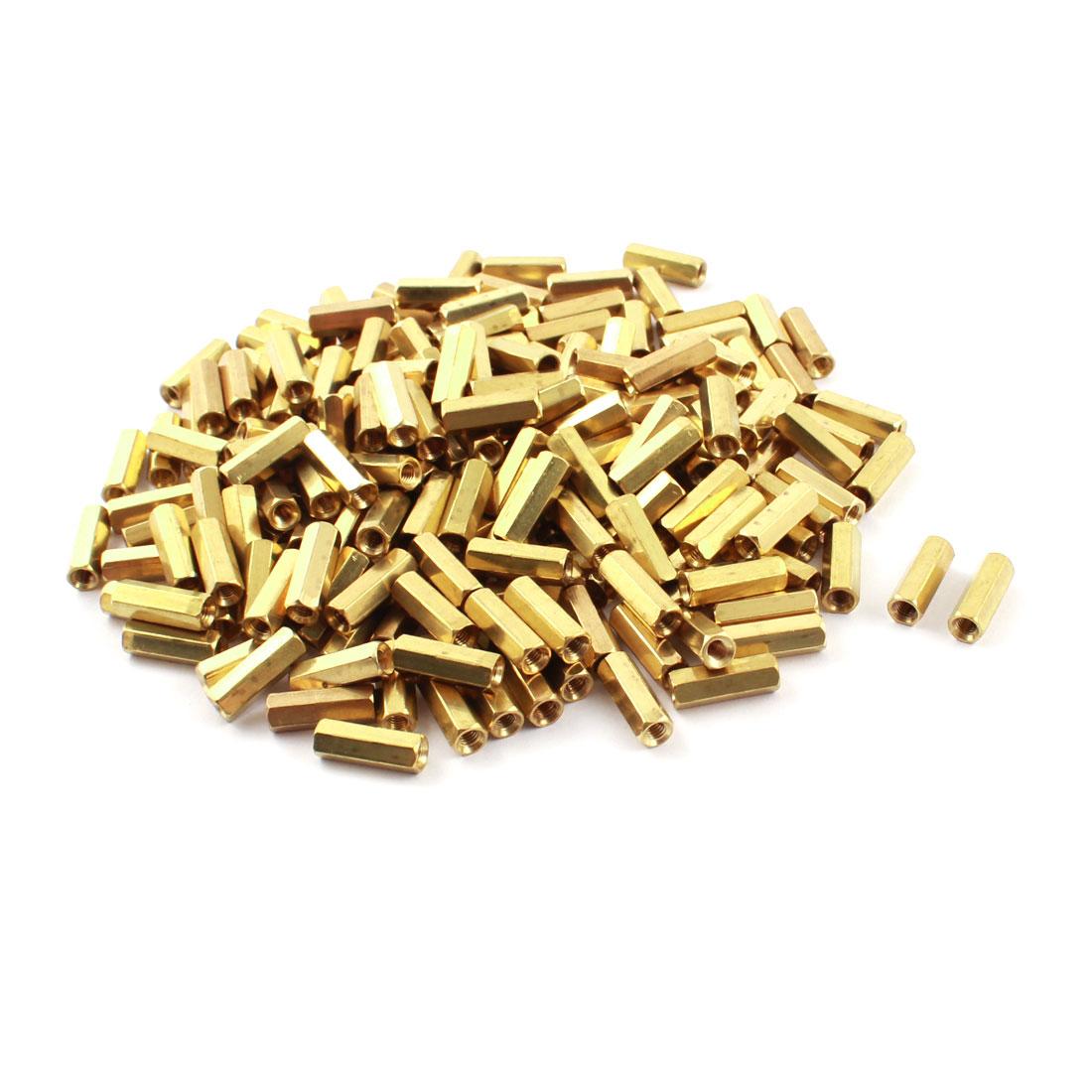 200Pcs M3 x 14mm Female Thread Dual Ends Gold Tone Brass Piller PCB Standoff Hexagonal Nut Spacer