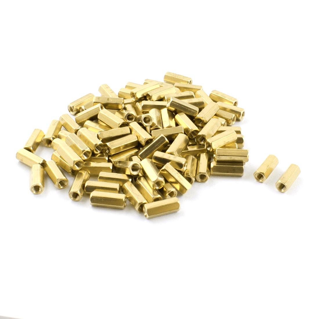 100 Pcs M3 x 12mm Female Thread Dual Ends Brass Pillar PCB Standoff Hexagonal Nut Spacer