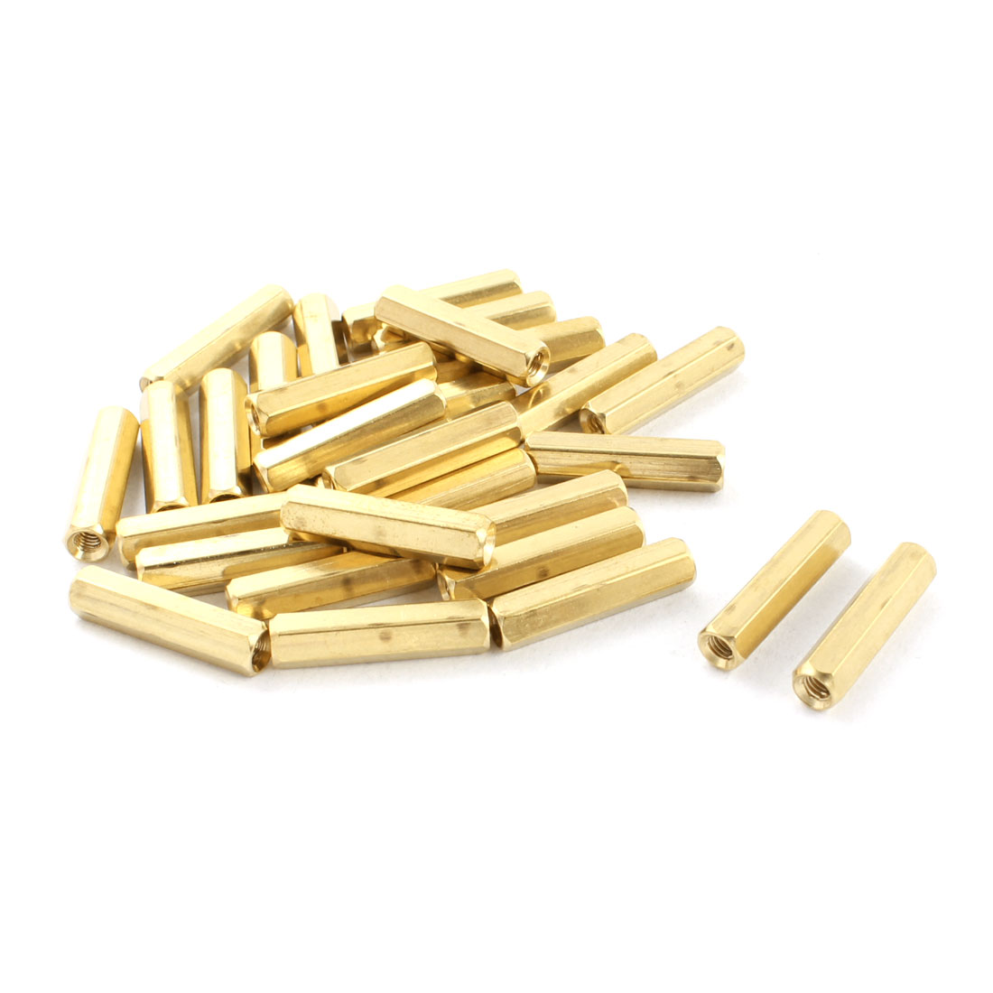 30Pcs M3 x 20mm Fmale Thread Dual Ends Brass Pillar Standoff Hexagonal Nut Spacer