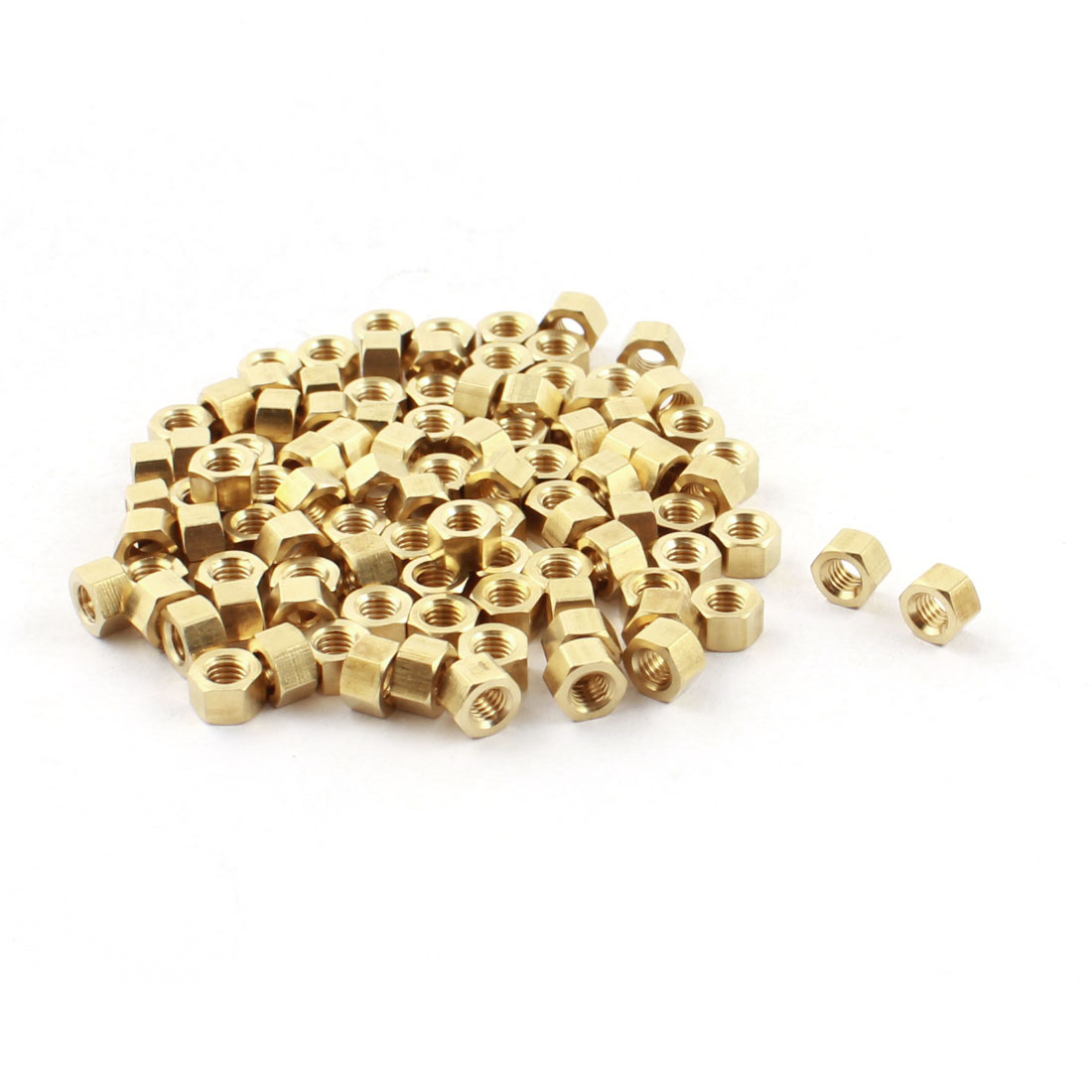 100Pcs M3x3mm Female Thread Dual Ends Gold Tone Brass Pillar Hex Head PCB Standoff Hexagonal Nut Spacer