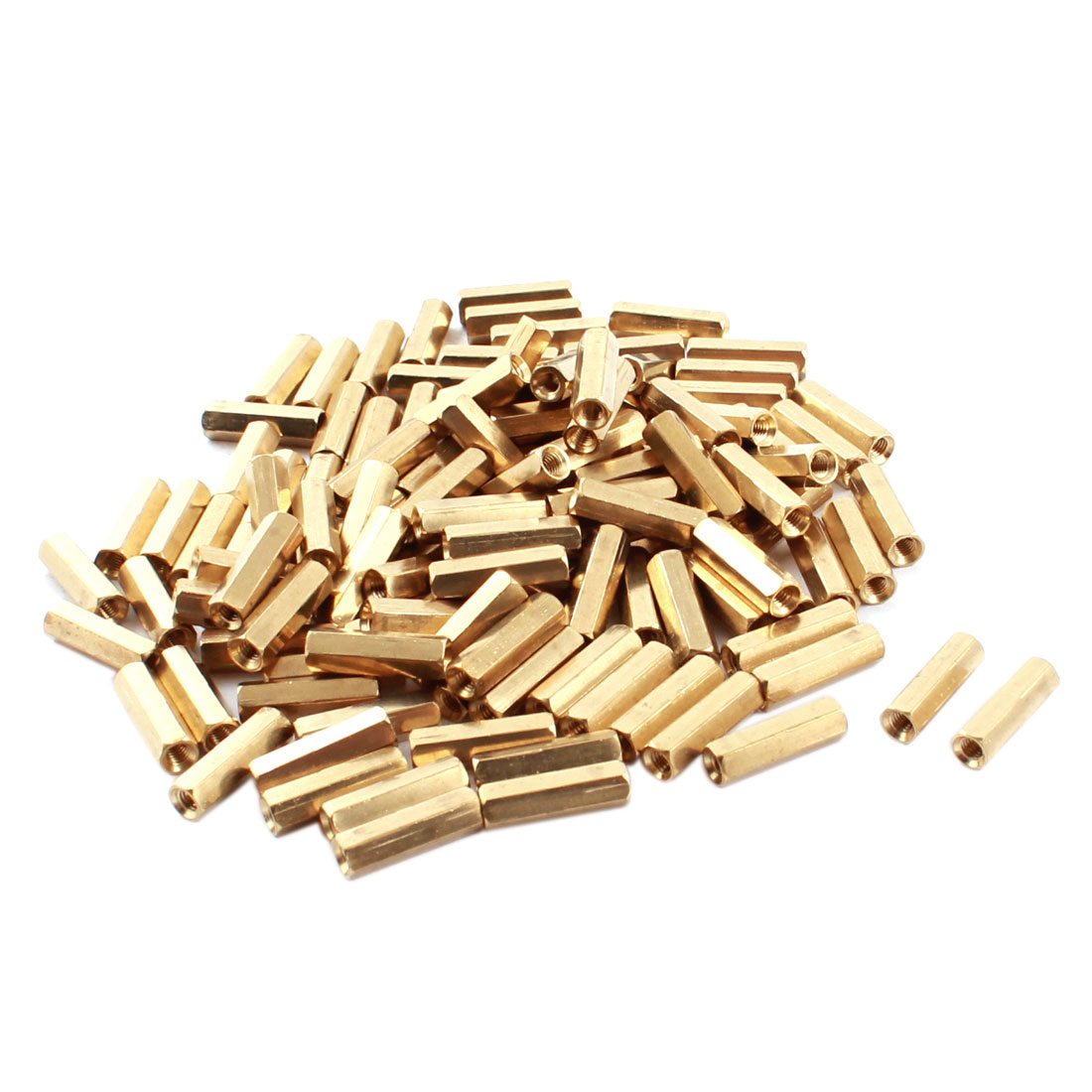 120 Pcs Dual Ends Female Thread Gold Tone Brass Hex Head PCB Standoff Spacer M3x16mm