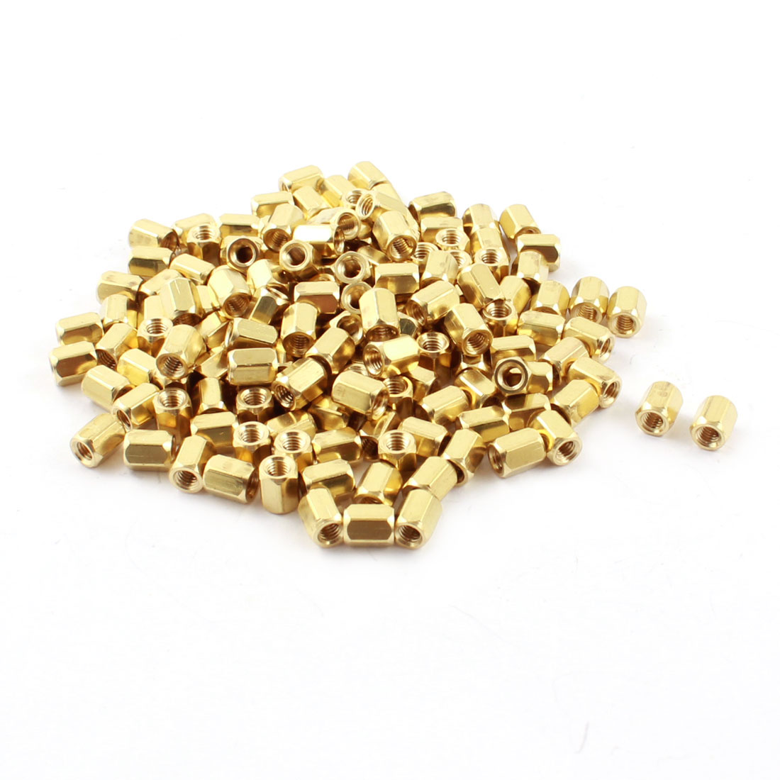150Pcs M3 Female Thread 6mm Length Dual Ends Gold Tone Brass Pillar PCB Standoff Hexagonal Nut Spacer