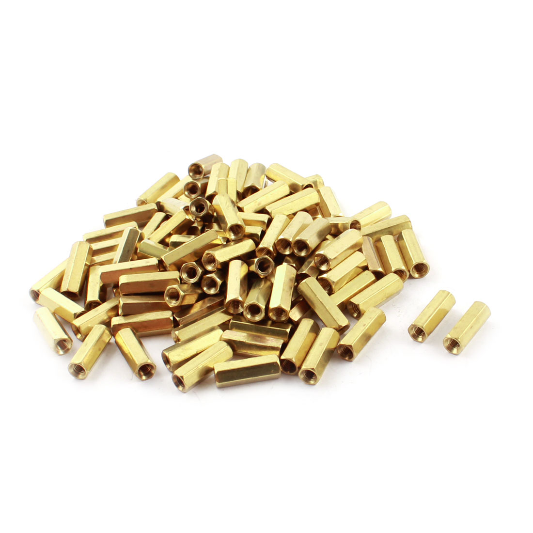 100 Pcs M3 x 14mm Female Thread Dual Ends Gold Tone Brass Pillar PCB Standoff Hexagonal Nut Spacer