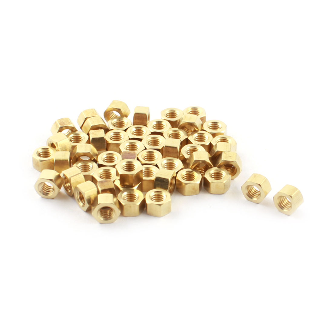 50Pcs M3 x 3mm Female Thread Gold Tone Brass Pillar PCB Hexagonal Nut Standoff Spacer