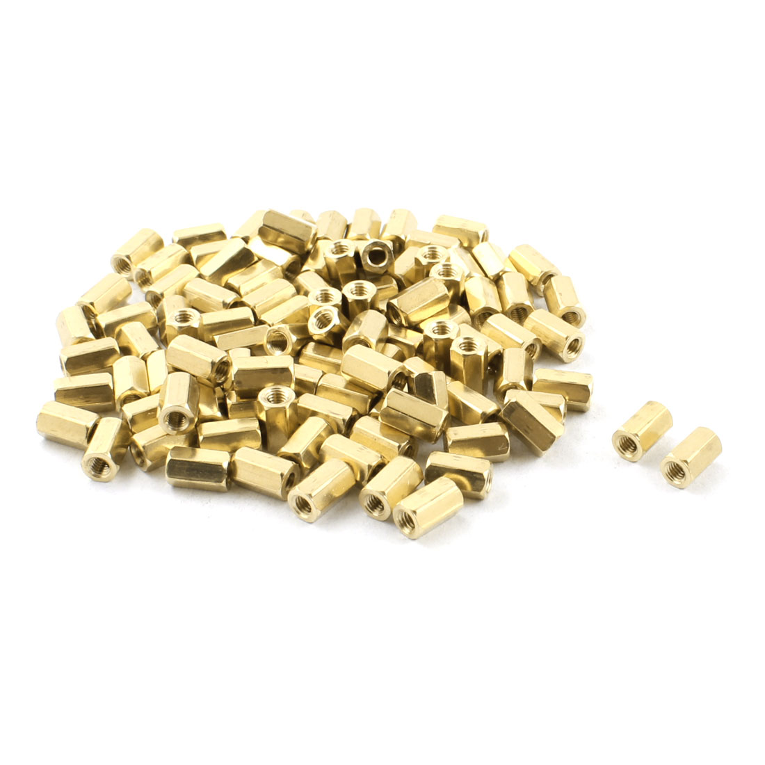 M3 Female Thread Dual Ends Gold Tone Brass Pillar PCB Standoff Hexagonal Nut Spacer 8mm 100Pcs