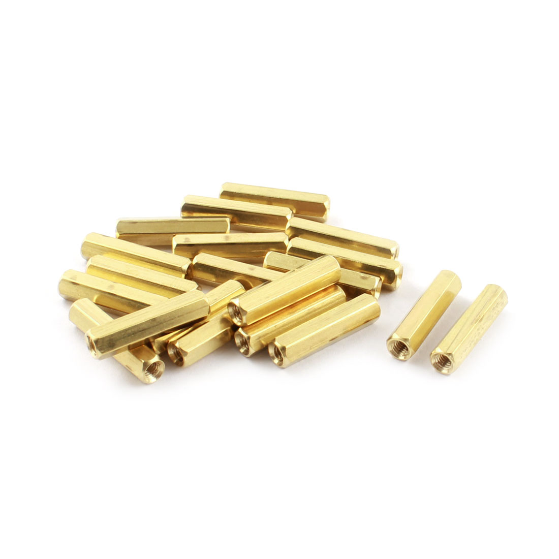20 Pcs M3 x 20mm Female Thread Dual Ends Gold Tone Brass Pillar PCB Standoff Hexagonal Nut Spacer