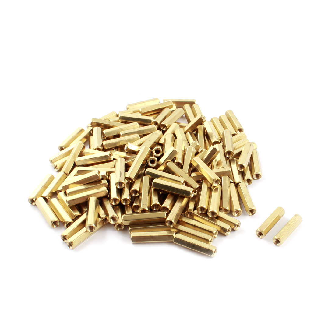 150 Pcs M3 x 20mm Female Thread Dual Ends Gold Tone Pillar PCB Standoff Hexagonal Nut Spacer