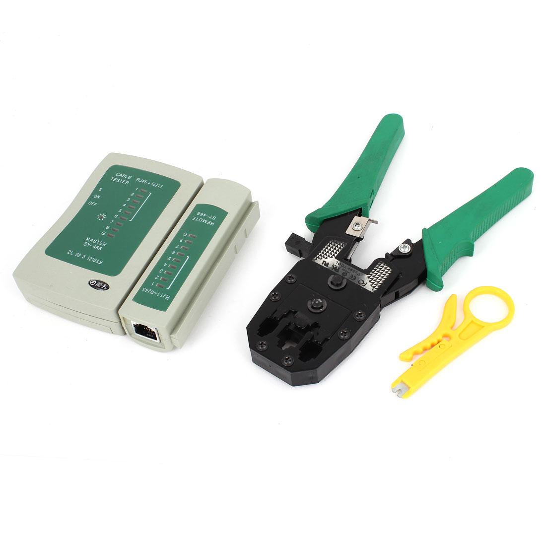 Network Tool Kit 6 in 1 Cable Tester + RJ45 RJ11 RJ9 Crimper + UTP Stripper