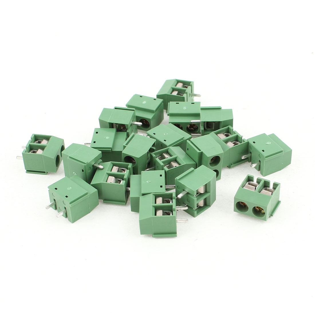 20 Pcs 5.08mm Pitch 2Pin 2 Way Pluggable Type PCB Mounting Green Detachable Screw Terminal Block Connector
