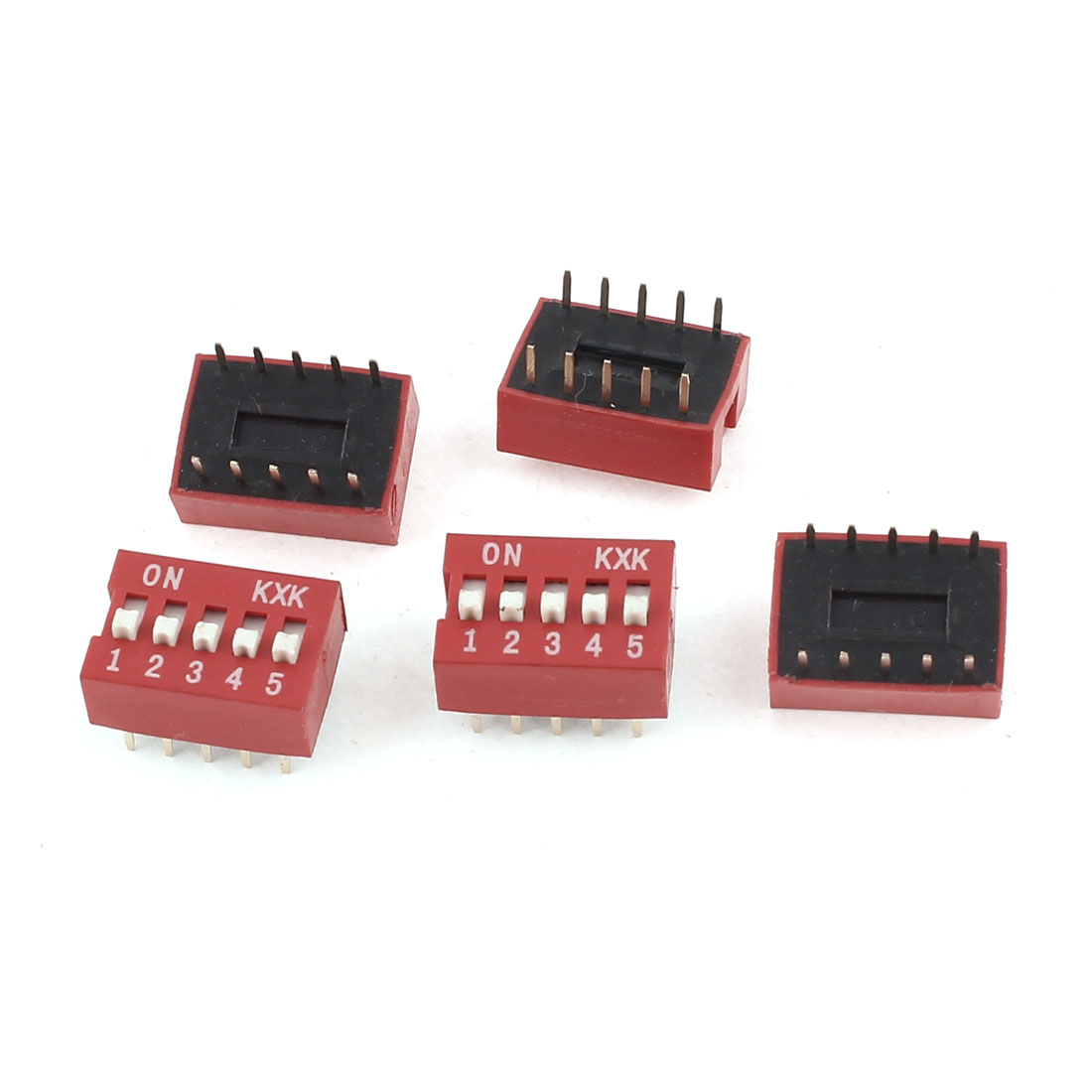 5 Pieces DIP Mount Dual Row 10 Pins 5 Positions Sliding Switch 2.54mm Pitch Red