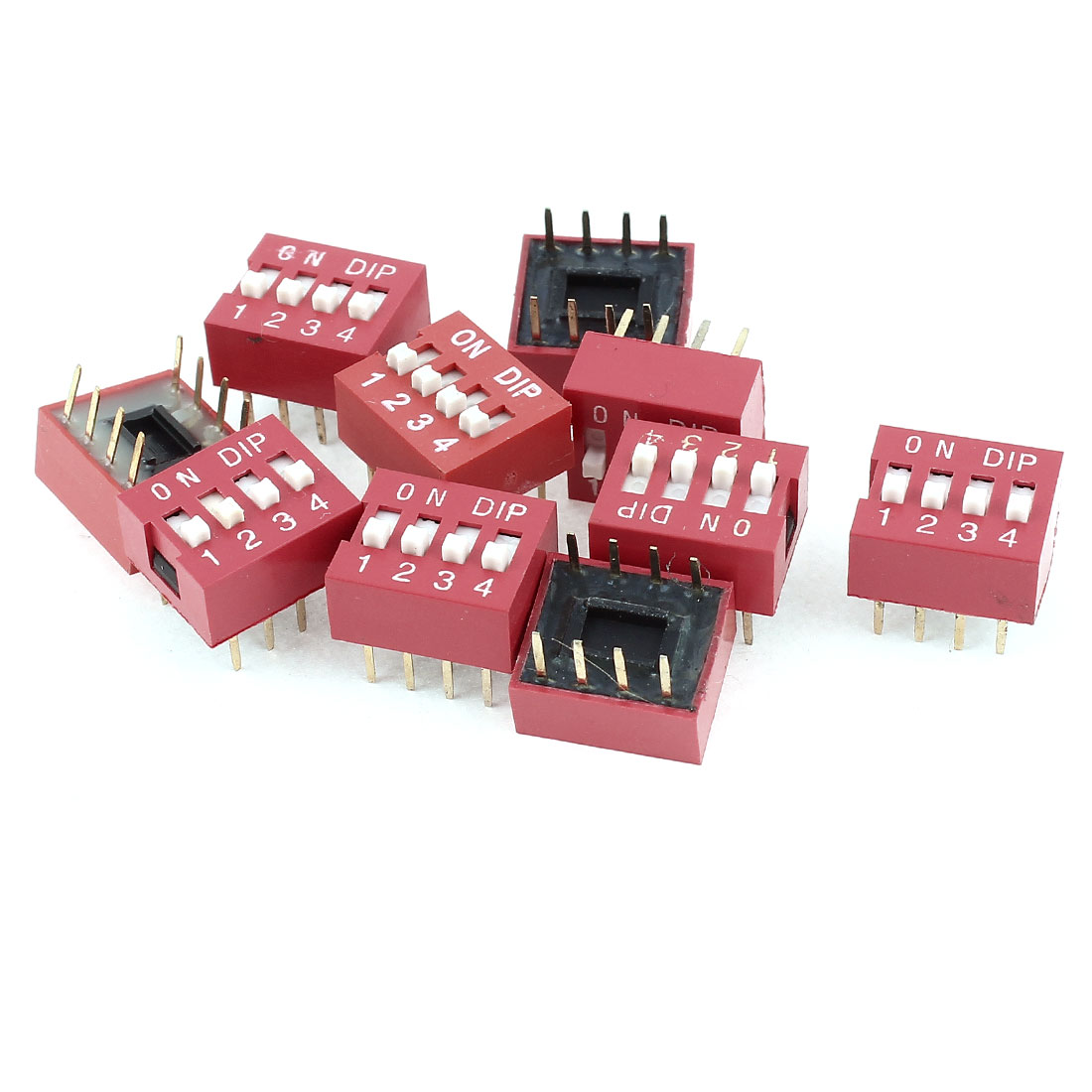 10 Pcs DIP Mount 2 Row 8 Pins 4 Positions Sliding Switch 2.54mm Pitch
