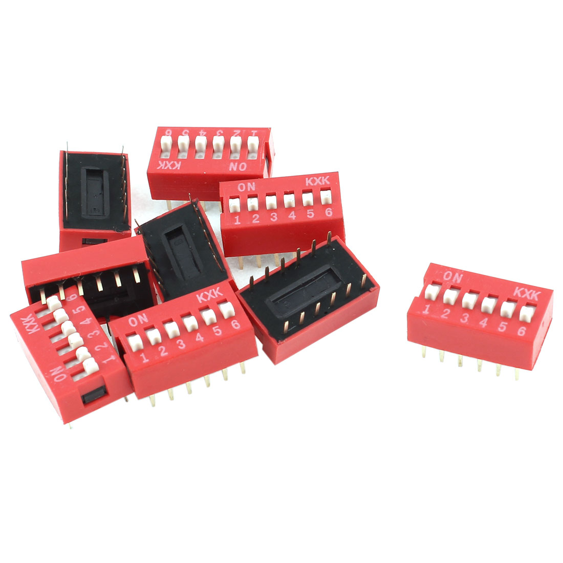 10 Pieces DIP Mount Dual Row 12 Pin 6 Positions Sliding Switch 2.54mm Pitch Red