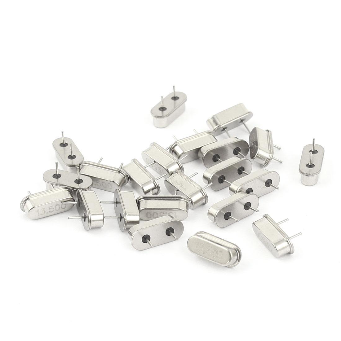 20 Pieces 13.5MHZ DIP Passive Quartz Crystal Oscillators Silver Tone HC-49S