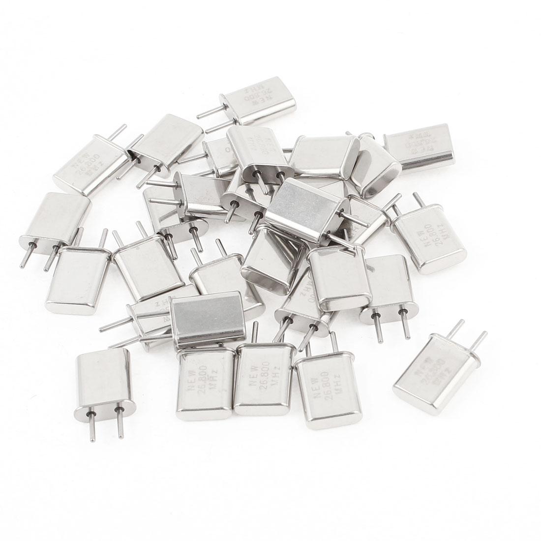 30 Pieces 26.800Mhz 26.800M Passive Quartz Crystal Oscillator Silver Tone HC-49U