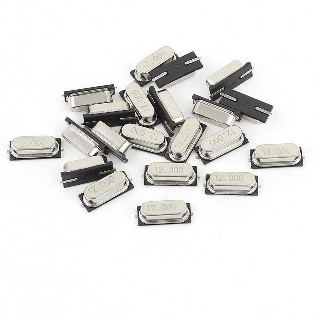 20 Pieces HC-49S SMD Type Quartz Crystal Oscillators 12MHz 12.000Mhz Silver Tone