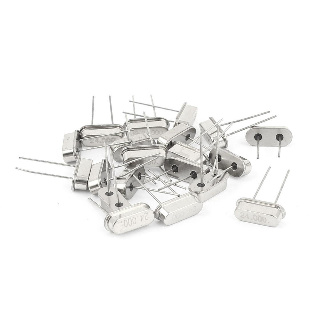 20 Pcs 24MHZ 24.000M 24M HZ Passive Quartz Crystal Oscillator Silver Tone HC-49S