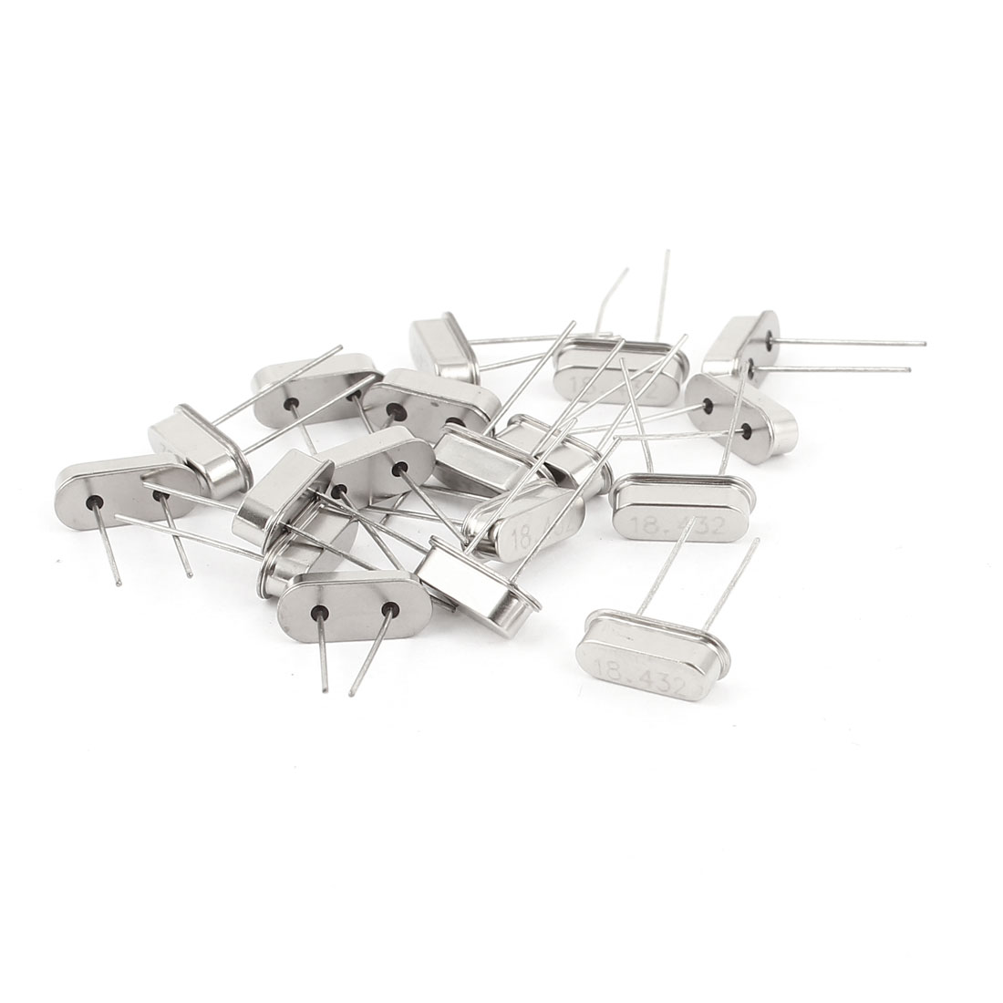 20 Pcs Low Profile 18.432MHZ Frequency DIP Crystal Oscillator HC-49S Silver Tone