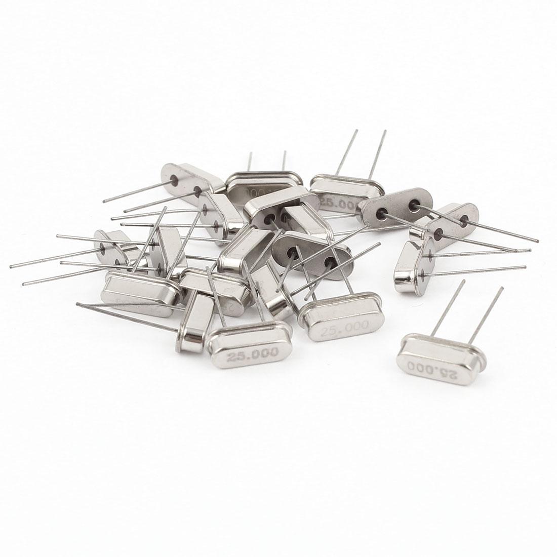 20 Pcs Low Profile 25MHZ 25.000MHZ Quartz Crystal Oscillator HC-49S Replacements