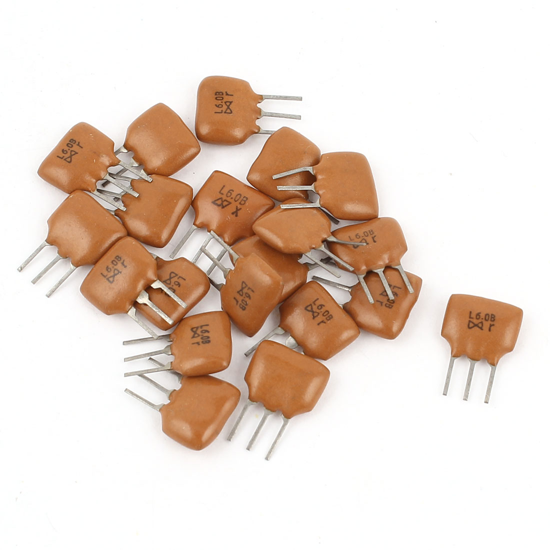 20 Pcs Radial Lead 3 Pole Ceramic Filter Crystal Resonator L6.0B 6.0MHz Frequency
