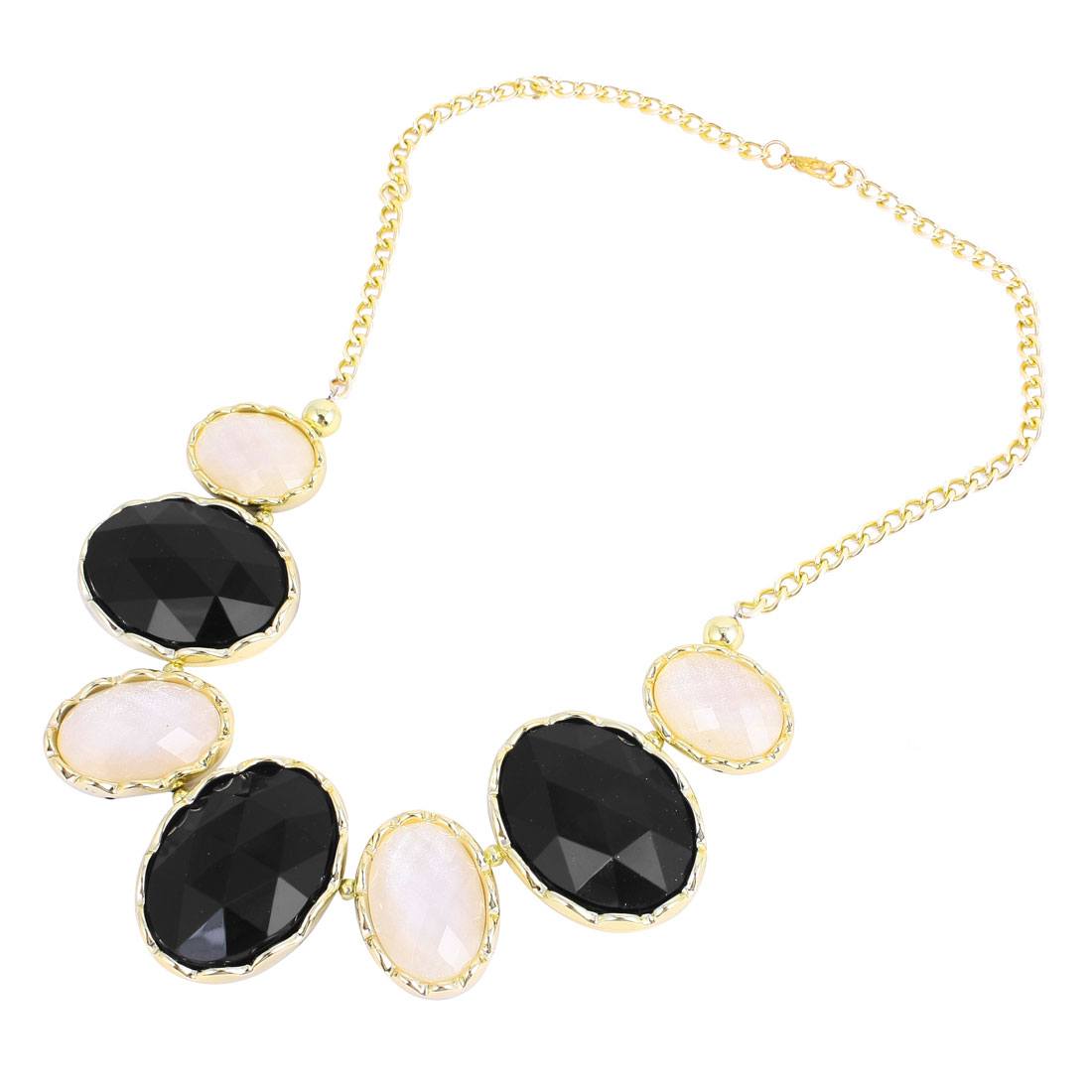 Black White Oval Shaped Faux Crystal Decor Bib Necklace for Ladies Woman