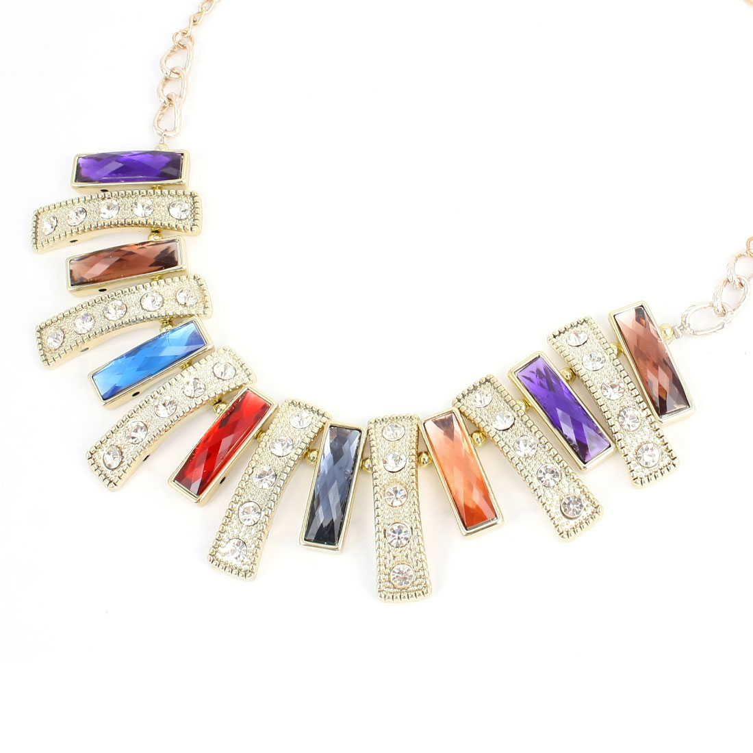 Multicolor Rectangle Shaped Faux Crystal Decor Bib Necklace for Ladies Woman