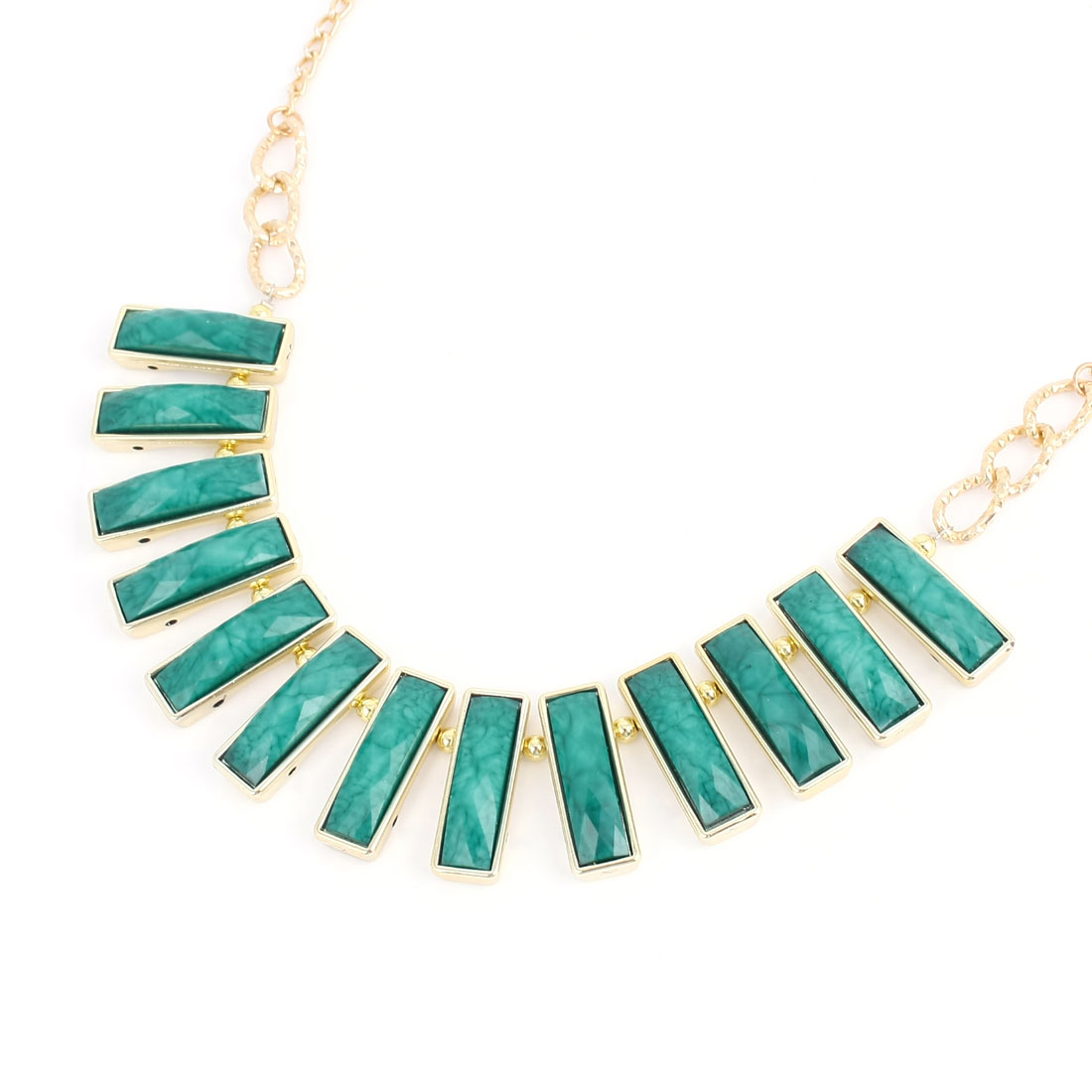 Green Rectangle Shaped Beads Necklace Decoration for Ladies Woman