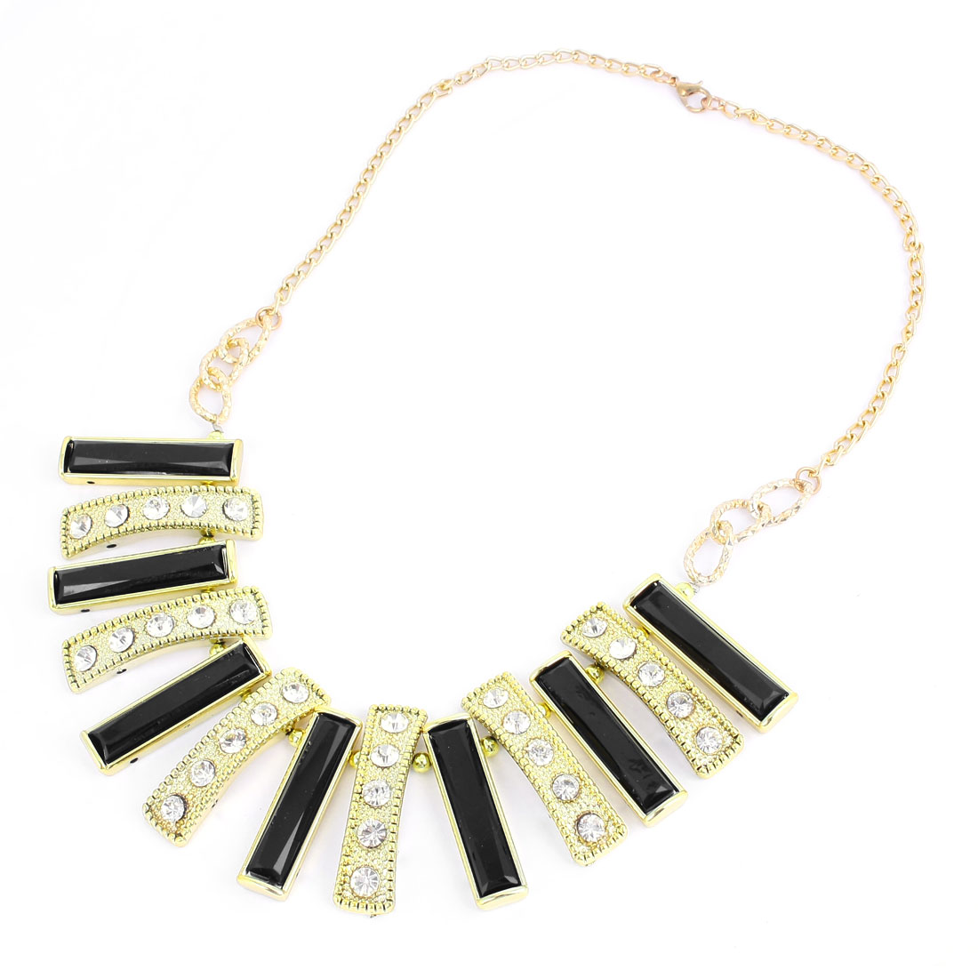 Black White Rectangle Shaped Faux Crystal Decor Bib Necklace for Ladies Woman
