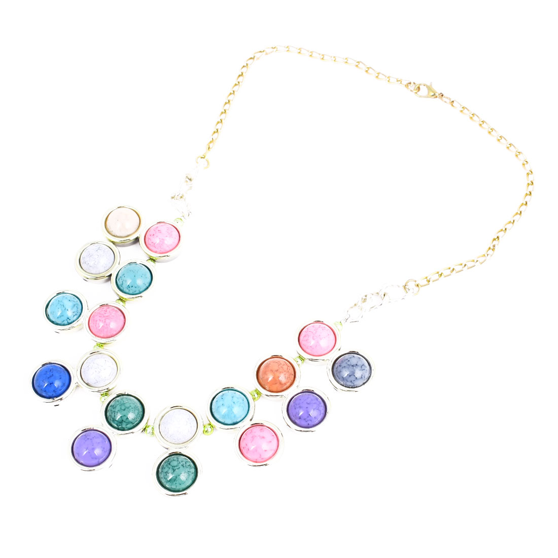 Multicolor Plastic Ball Shaped Beads Bib Necklace for Ladies Woman