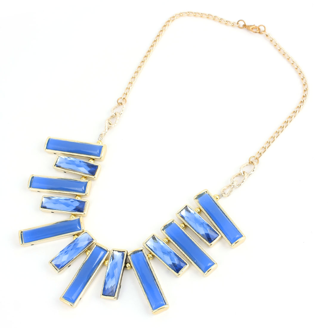 Blue Rectangle Shaped Beads Necklace Decoration for Ladies Woman