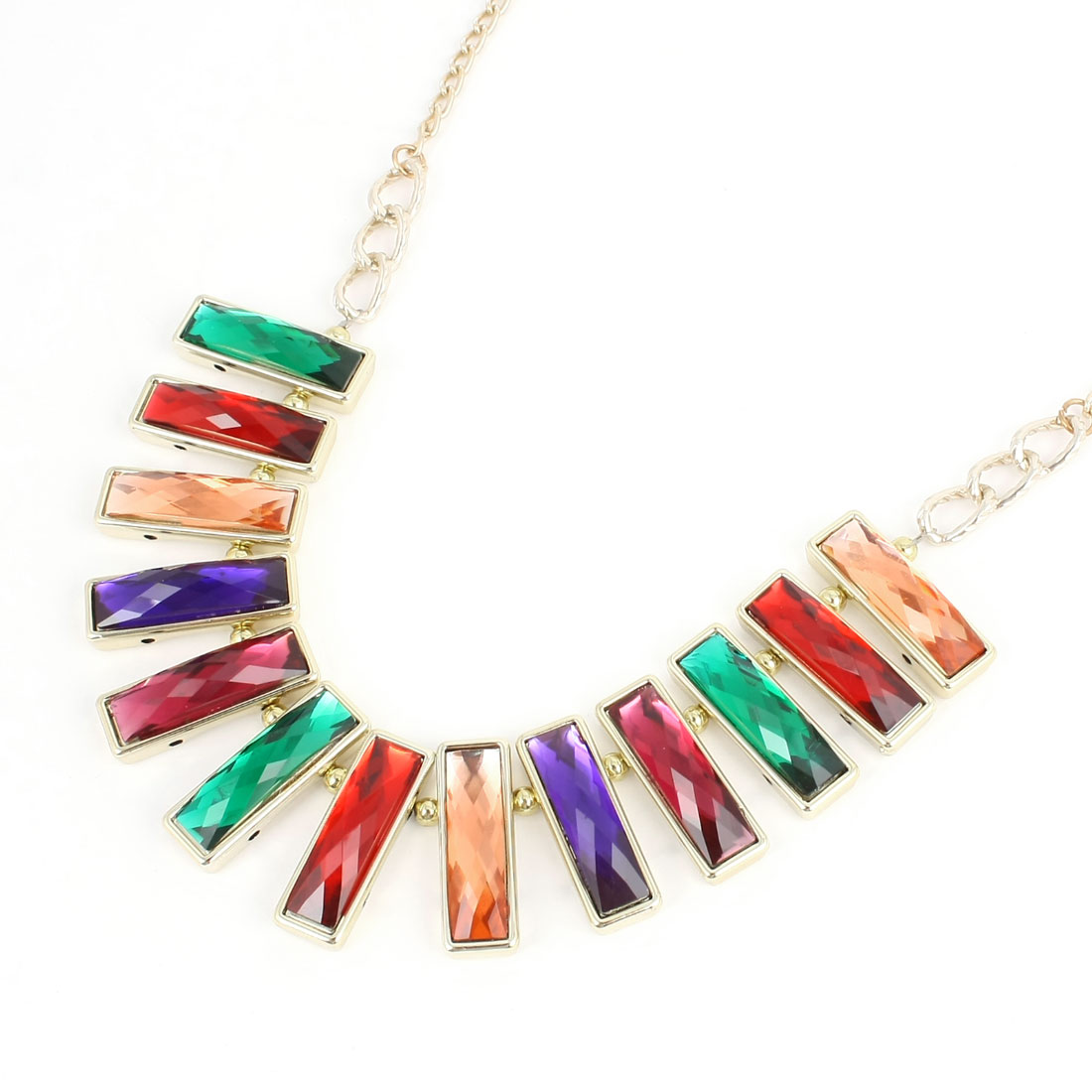 Multicolor Rectangle Shaped Faceted Beads Necklace Decoration for Ladies Woman