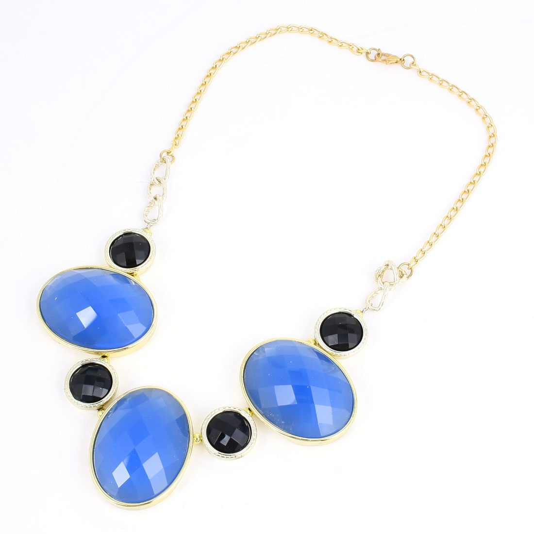 Blue Black Oval Shaped Faux Crystal Decor Bib Necklace for Ladies Woman