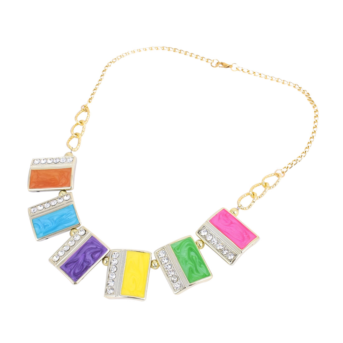 Multicolor Rectangle Shape Faux Crystal Beads Necklace for Lady Woman
