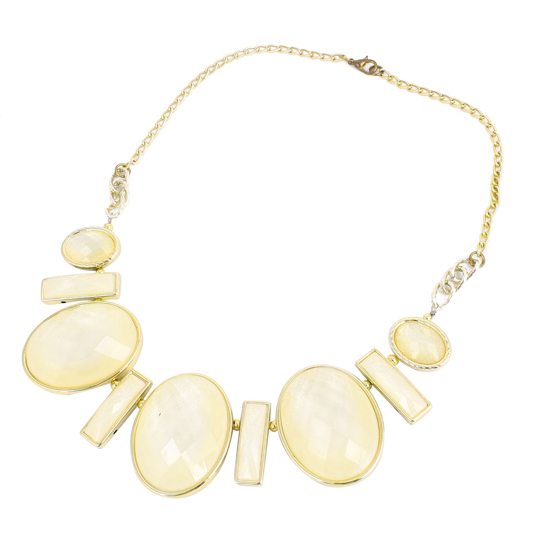 White Oval Shaped Faux Crystal Decor Bib Necklace for Ladies Woman
