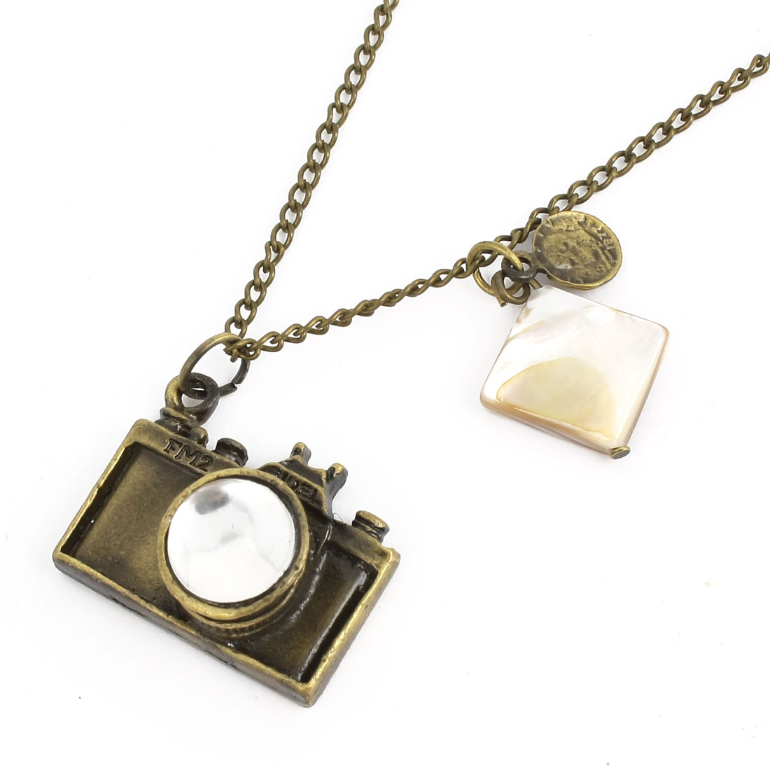 Bronze Tone Camera Design Pendant Decoration Sweater Necklace