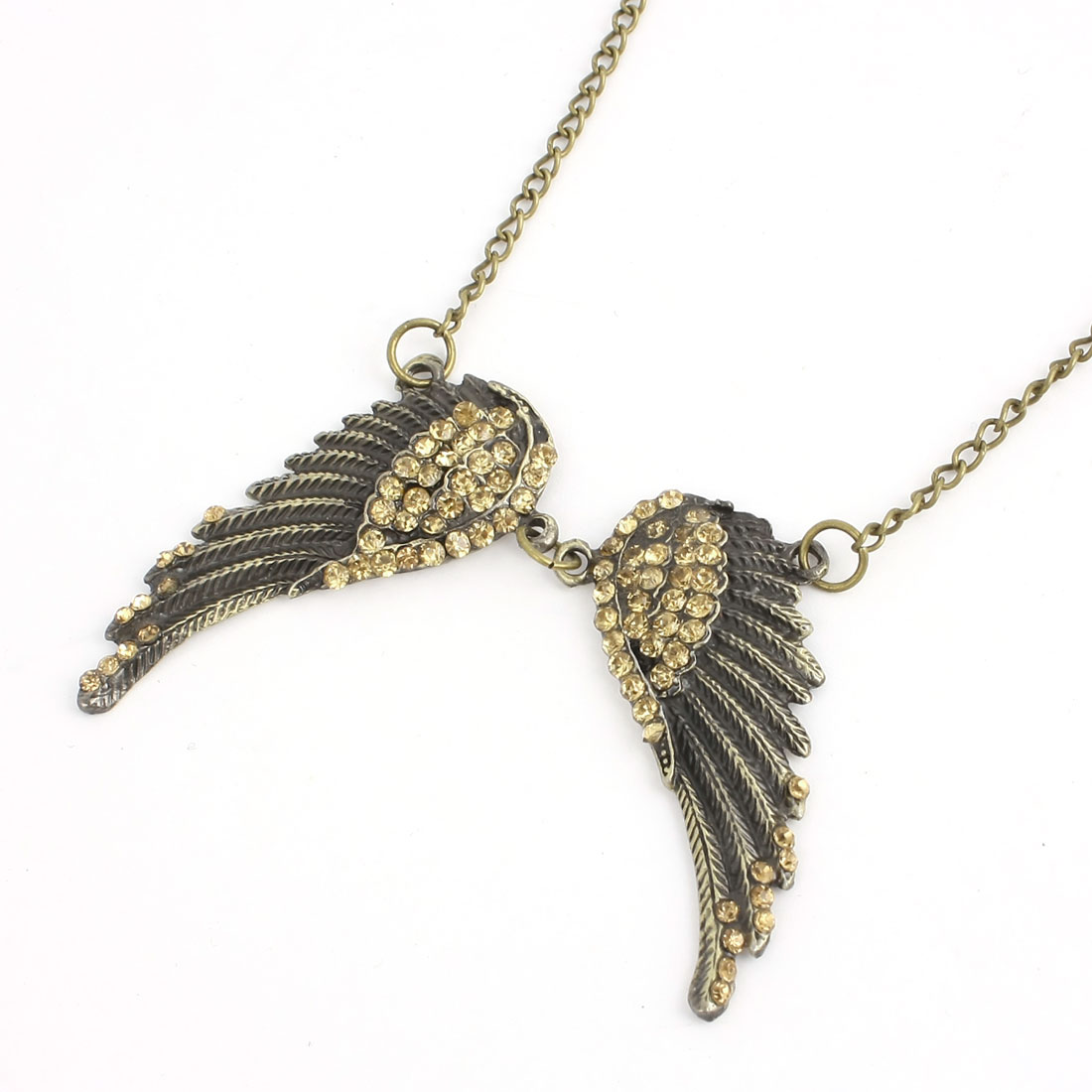 Bronze Tone Bird Wings Design Pendant Decoration Sweater Necklace