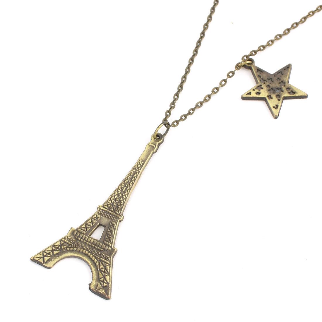Bronze Tone Eiffel Tower Star Design Pendant Decor Sweater Necklace